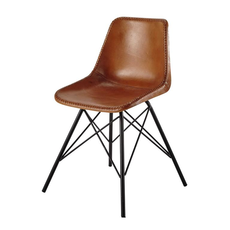 Chaise en cuir et métal camel Austerlitz