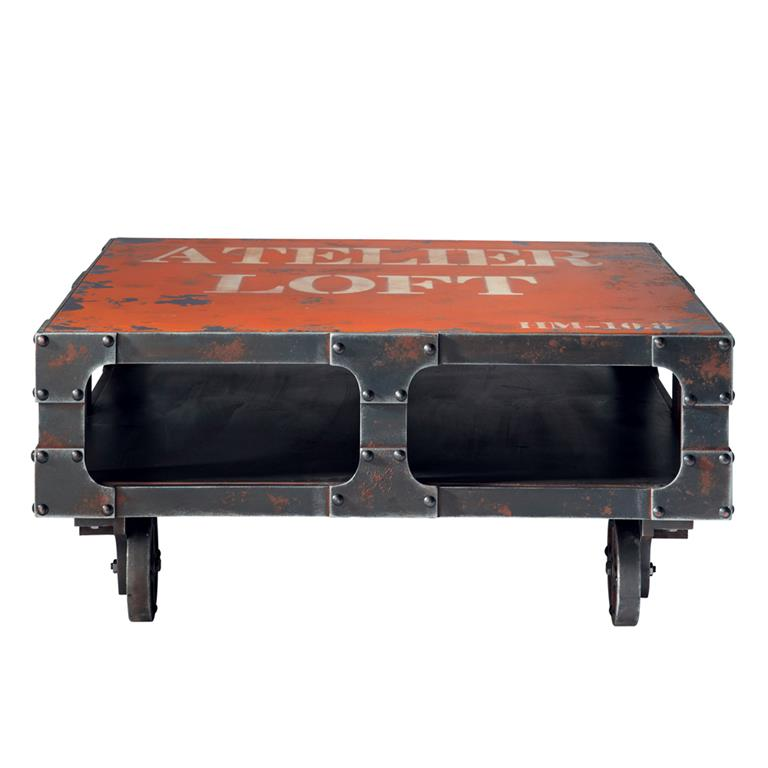 Table Basse à Roulettes Rouge L 90 Cm Terminus Maisons Du Monde