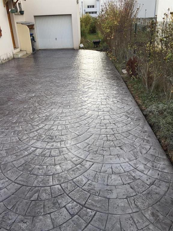 B ton imprim motif pierre cubique beton expert ref - Enduit ciment blanc exterieur ...