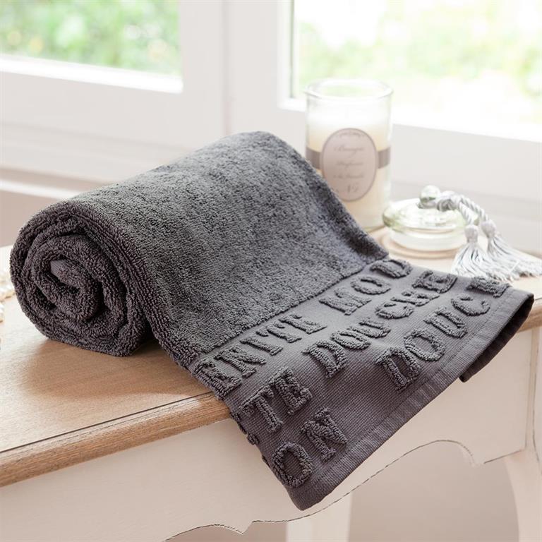 Drap de bain en coton gris 100x150 MODERN