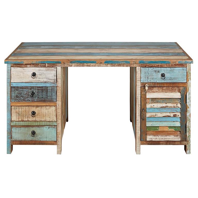 Bureau 1 porte 5 tiroirs en bois recyclés peints Calanque