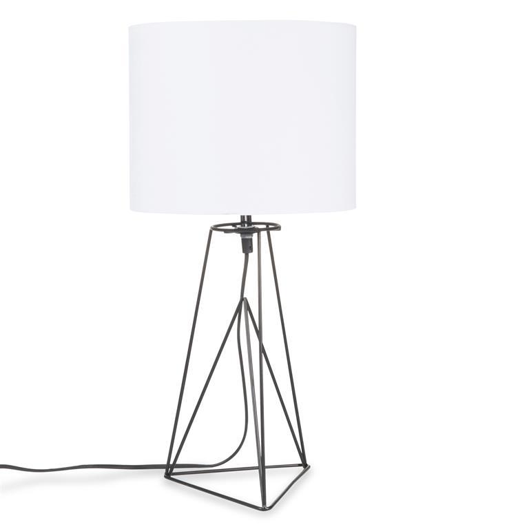 Lampe filaire en métal noir et abat-jour blanc LOOLAN
