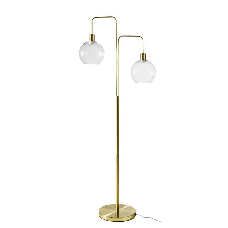 Lampadaire 2 globes en verre et métal doré H157