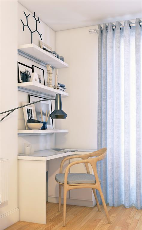 Coin bureau dans un salon aux teintes claires karine perez - Coin bureau dans salon ...