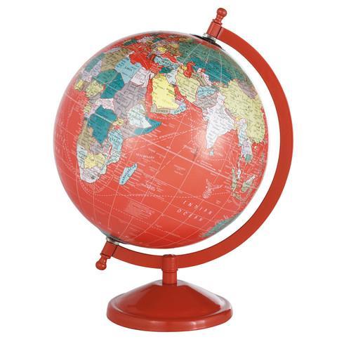 Globe terrestre rouge H 29 cm SCHOOL