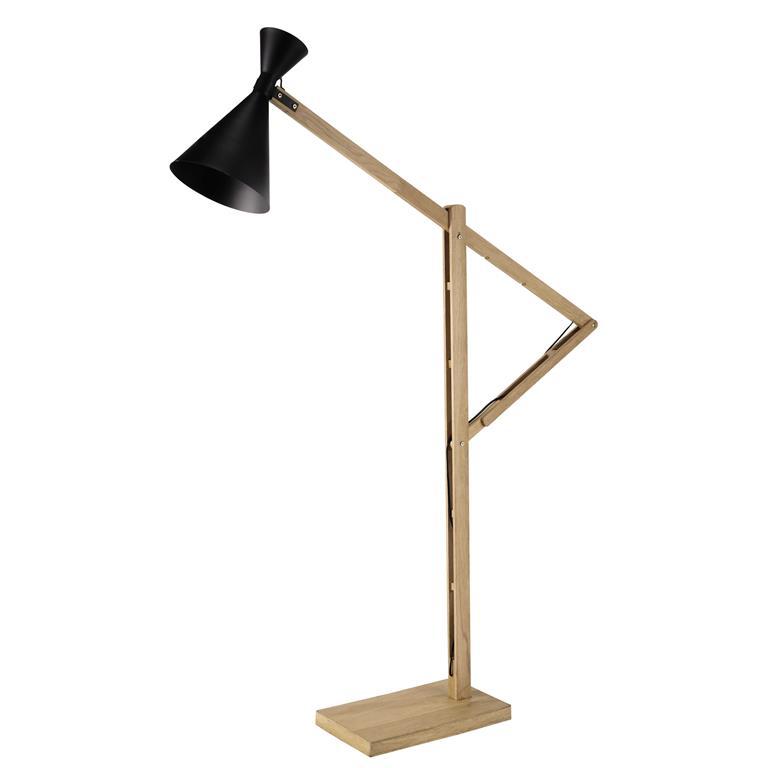 Lampadaire en bois et métal noir H 169 cm CAGLIARI