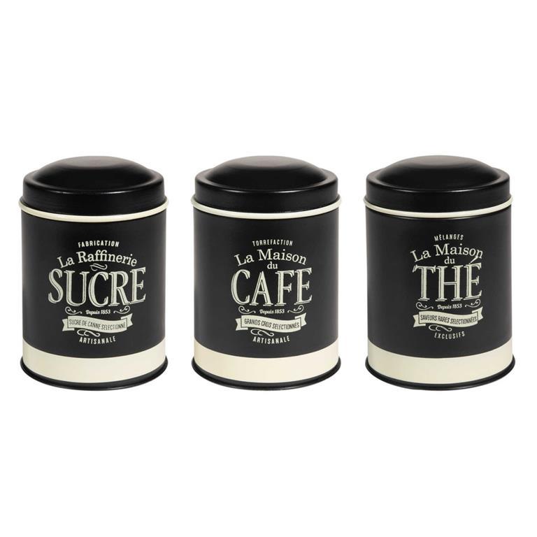 Boîte à thé en métal noir H 17 cm FABRIQUE ARTISANALE