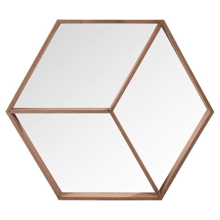 Miroir hexagonal en bois H 50 cm HANS