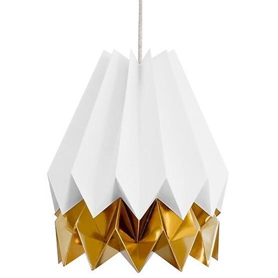 Abat-jour blanc et doré en papier - Orikomi