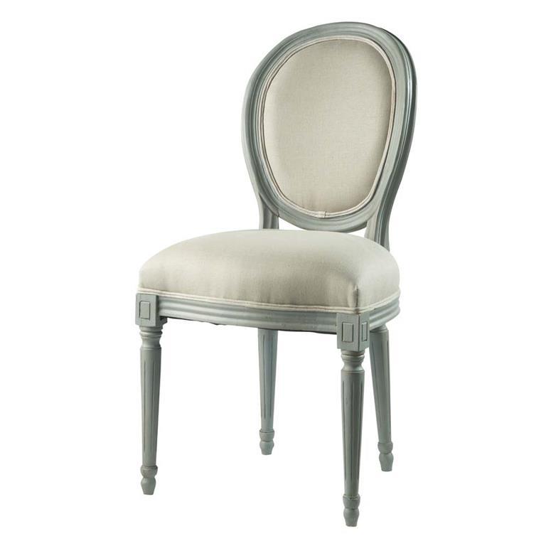 Chaise médaillon en lin et bois gris Louis