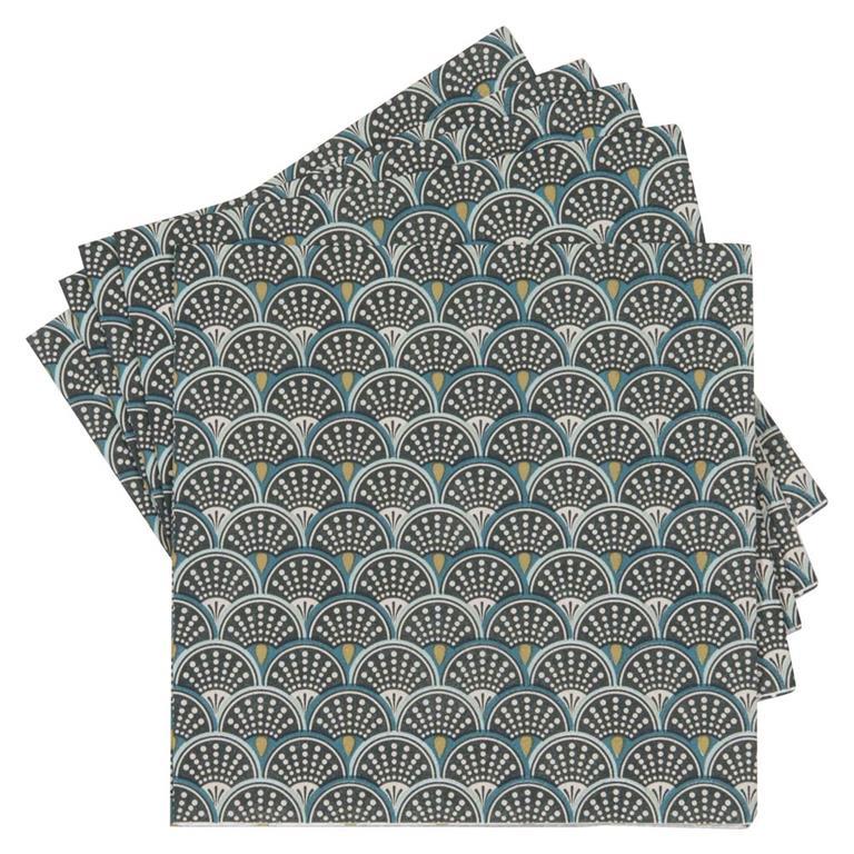20 serviettes en papier imprimé végétal EVENTAIL GREEN