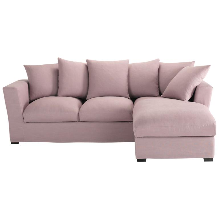 Canapé d'angle 5 places en lin mauve Bruxelles