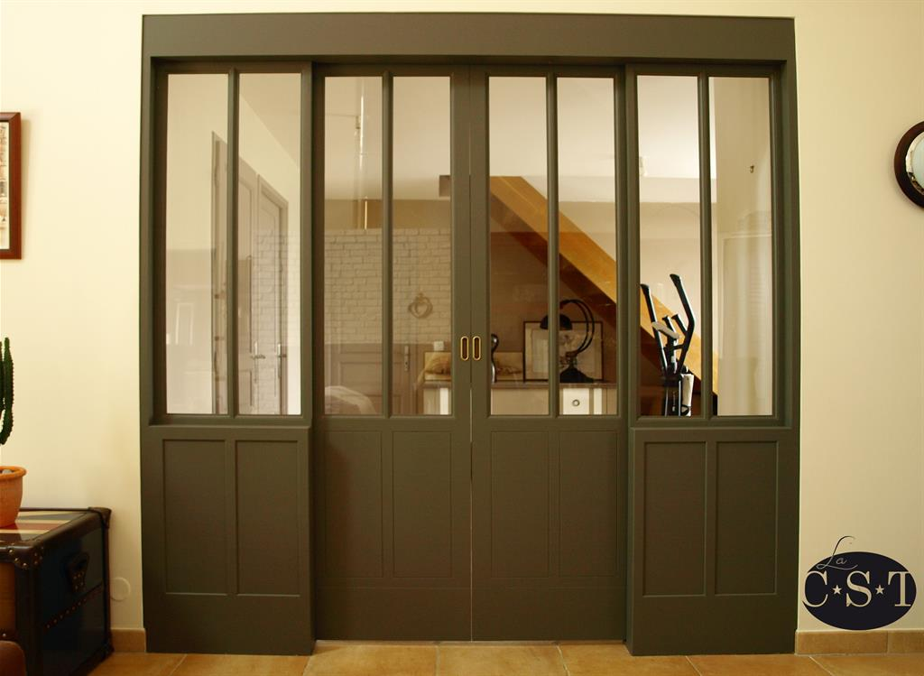 Baie vitr e en bois esprit industriel la c s t ref sur mesure - Baie vitree industrielle ...