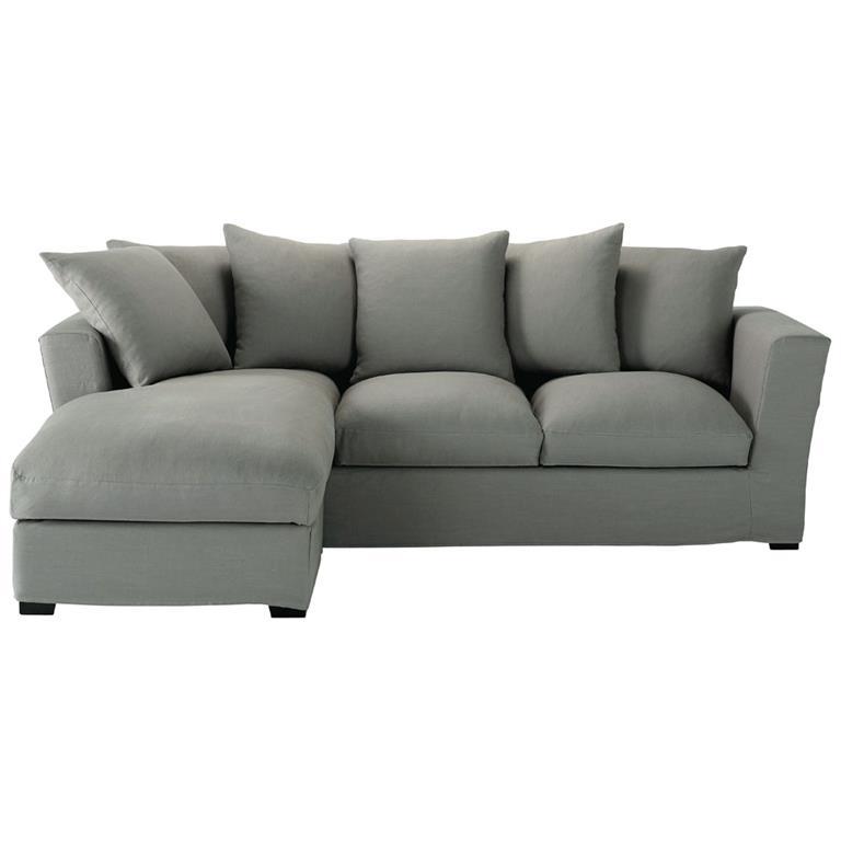 Canapé d'angle 5 places en lin gris Bruxelles
