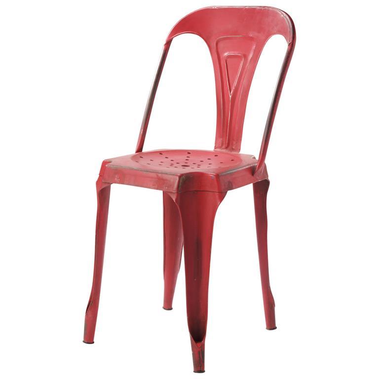 Chaise indus en métal rouge Multipl's