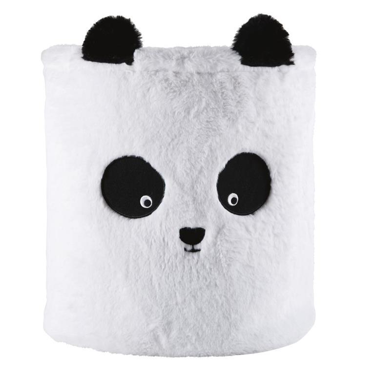 Panier de rangement panda imitation fourrure noire et blanche