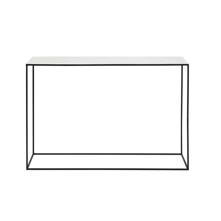 Console en marbre blanc et métal noir Marble