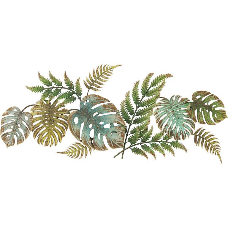 Patère 6 crochets feuilles tropicales en acier