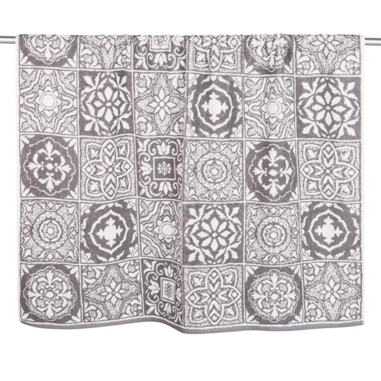 Drap de bain en coton motifs carreaux de ciment 100x150