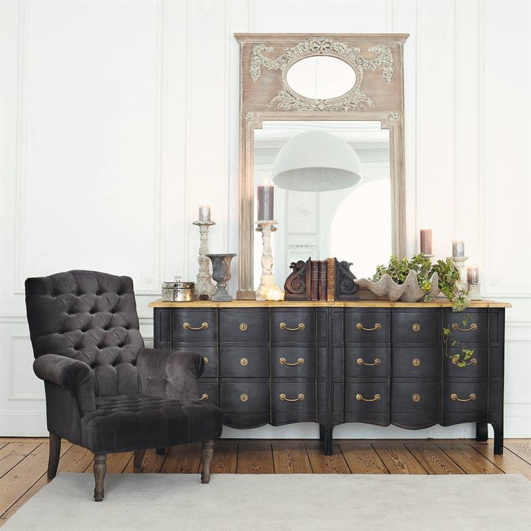 commode 6 tiroirs noire en acacia et manguier versailles. Black Bedroom Furniture Sets. Home Design Ideas