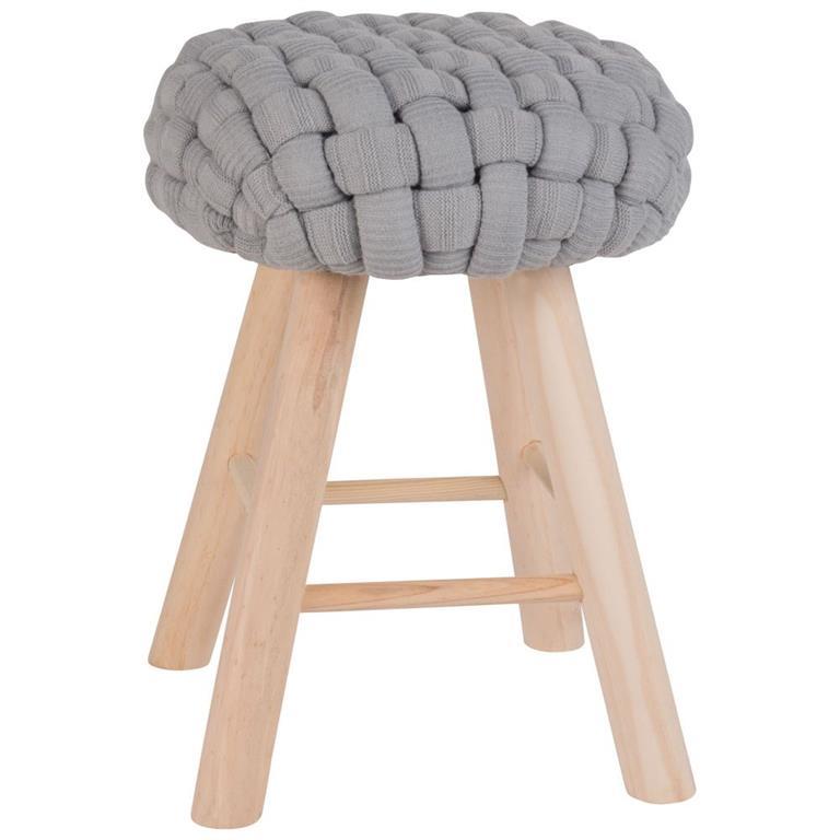 Tabouret bleu gris et pieds en pin