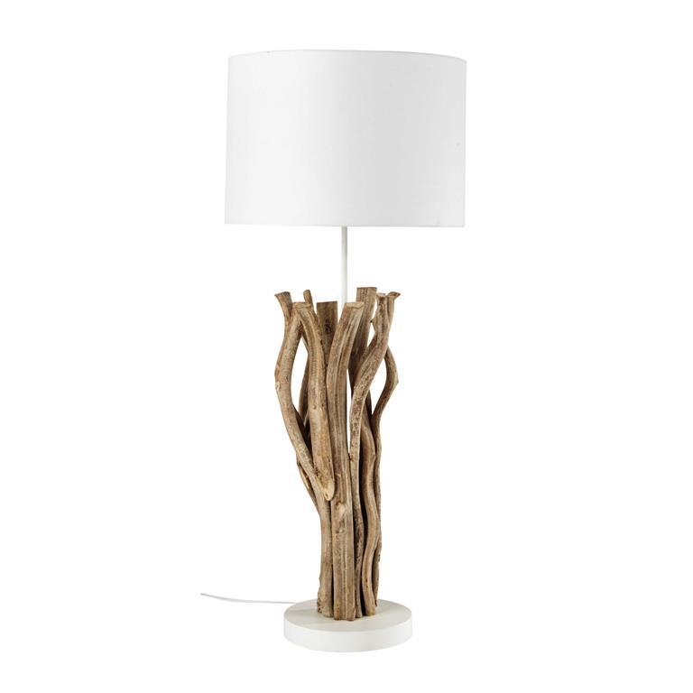 Lampe en bois et abat-jour en tissu blanc