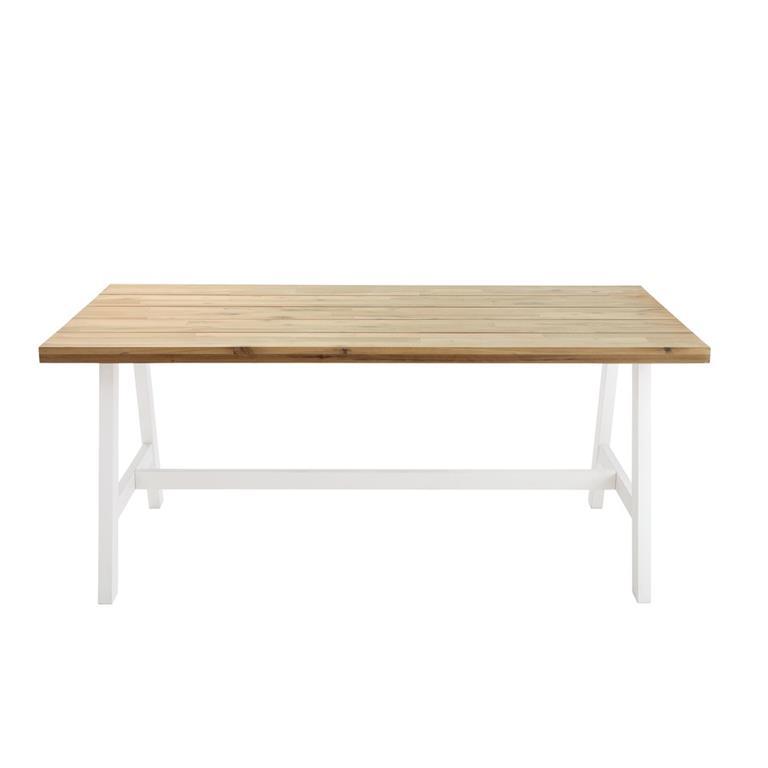 Table de jardin 6/8 personnes en acacia et métal blanc L180 Countryside