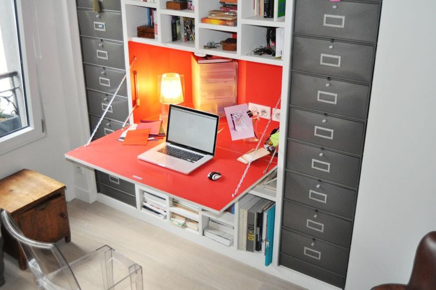 Meuble biblioth que avec bureau int gr for Meuble bureau escamotable