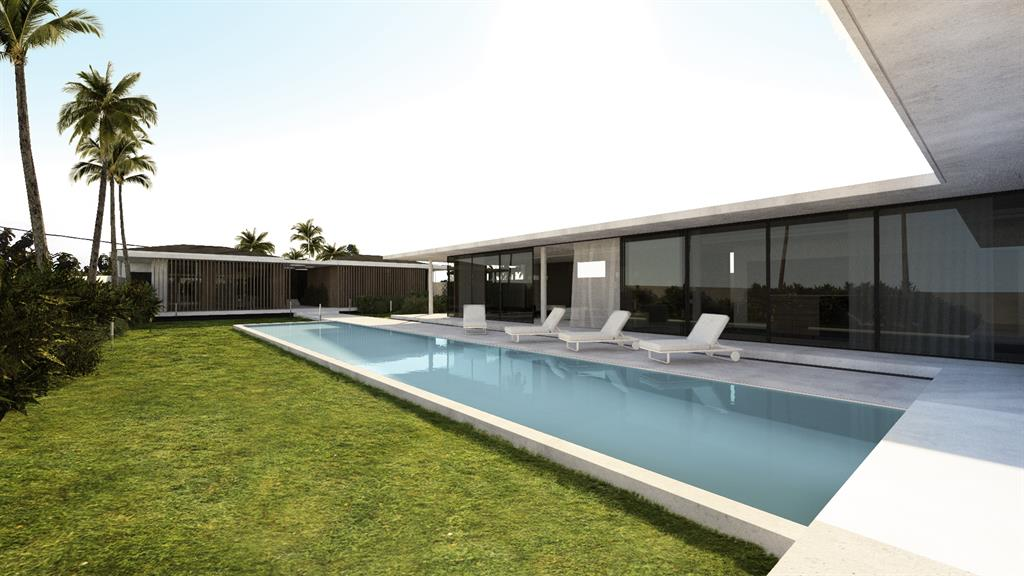 Vue sur la piscine depuis le sejour Jean-Yves Arrivetz