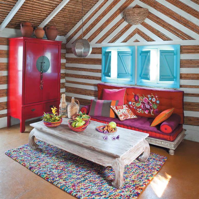 Decoration Indienne Salon : Banquette indienne places en coton multicolore monoï