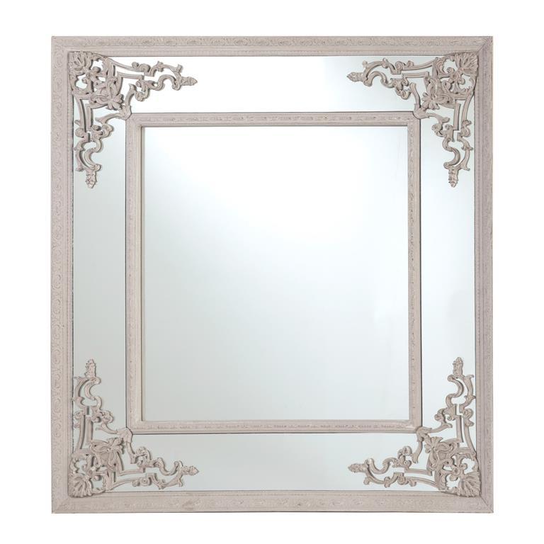 Miroir en bois et résine beige H 95 cm CASSANDRE