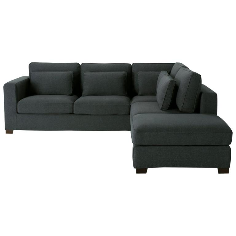 Canapé d'angle 5 places en tissu anthracite Milano
