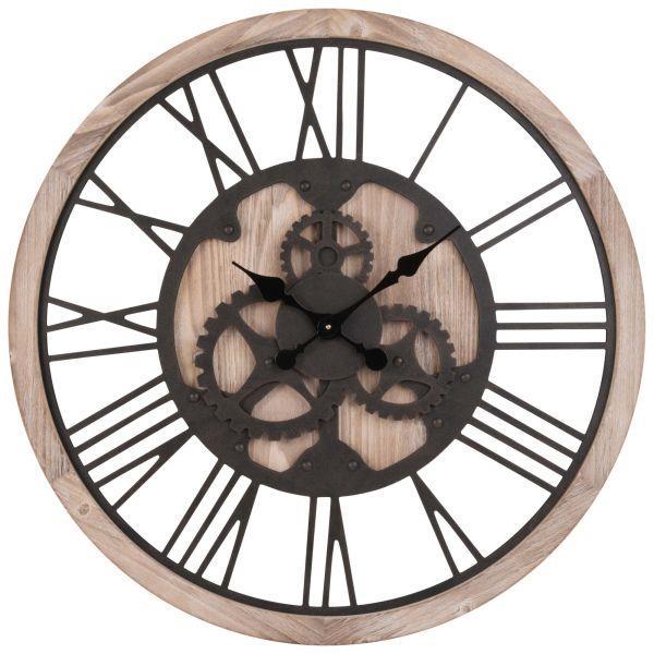 Horloge à rouages coloris naturel et noir D79
