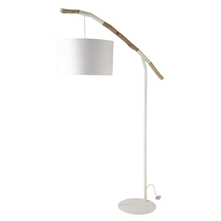 Lampadaire en métal et coton blanc H 203 cm EDEN