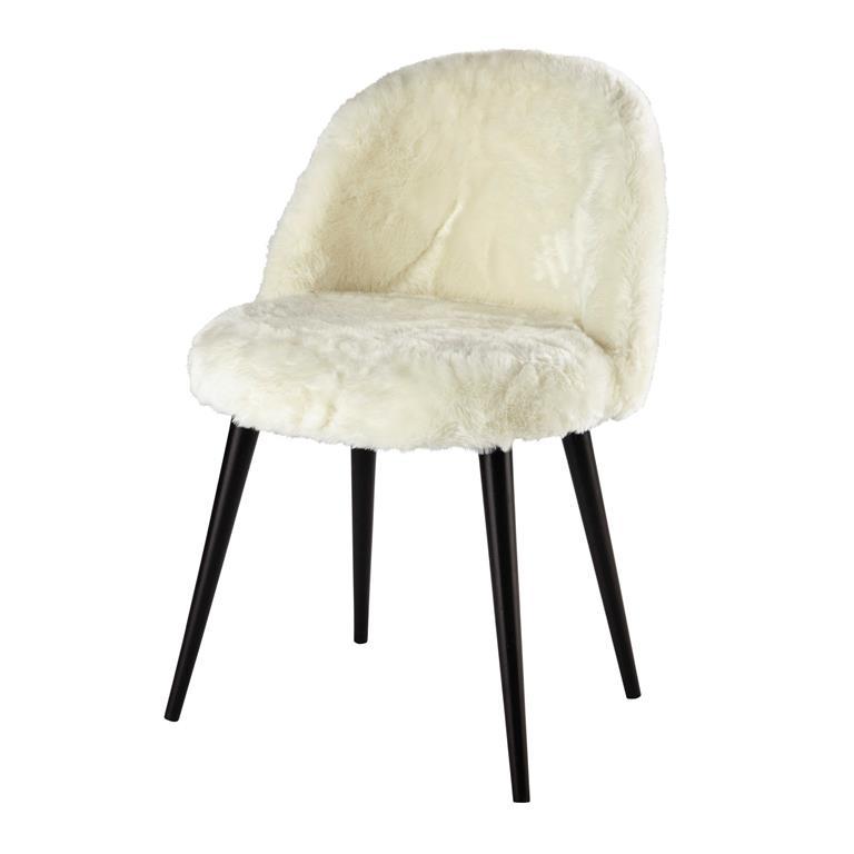 Chaise vintage fausse fourrure ivoire et bouleau massif noir Mauricette