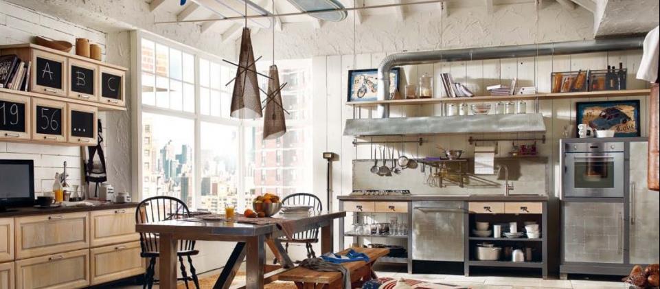 Cuisine cuisine style industriel loft : Cuisine de style industriel hotte et meuble en zinc