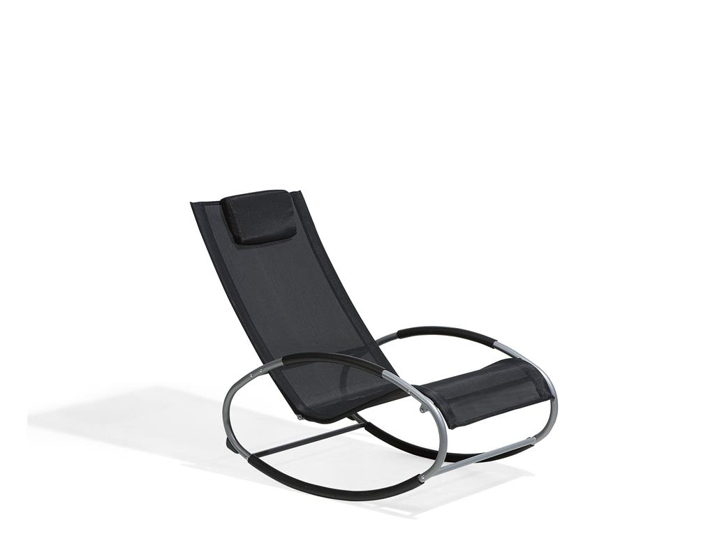 Chaise de jardin à bascule noire