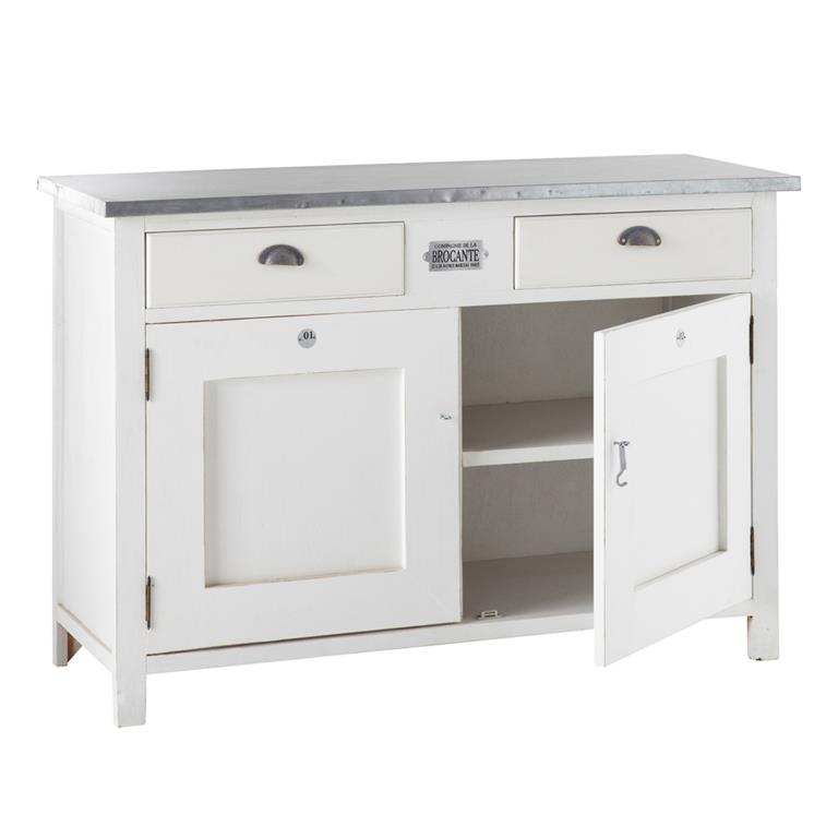 buffet 2 portes 2 tiroirs blanc sorgues maisons du monde. Black Bedroom Furniture Sets. Home Design Ideas