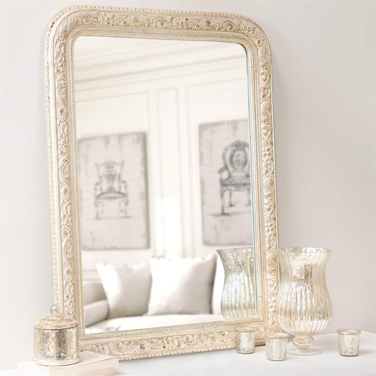 Miroir champagne en bois doré H 100 cm FONTENAY