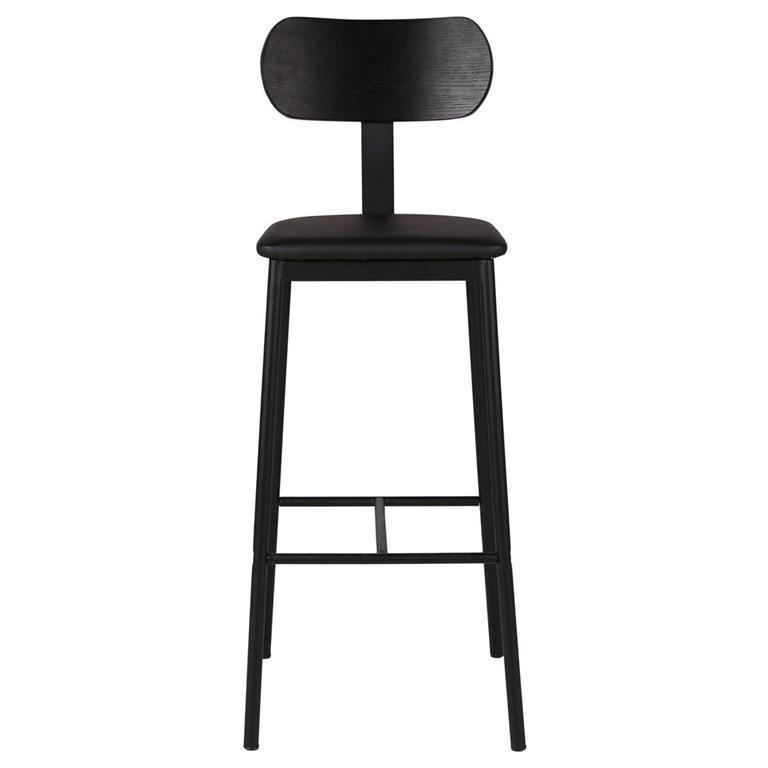 Chaise de bar plaqué chêne avec dossier tissu et pieds métal