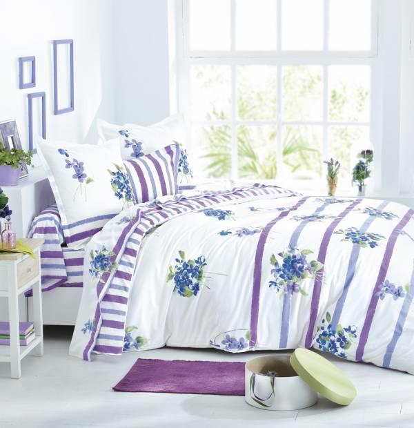 housse de couette sensation violette 2 personnes 240cm x. Black Bedroom Furniture Sets. Home Design Ideas