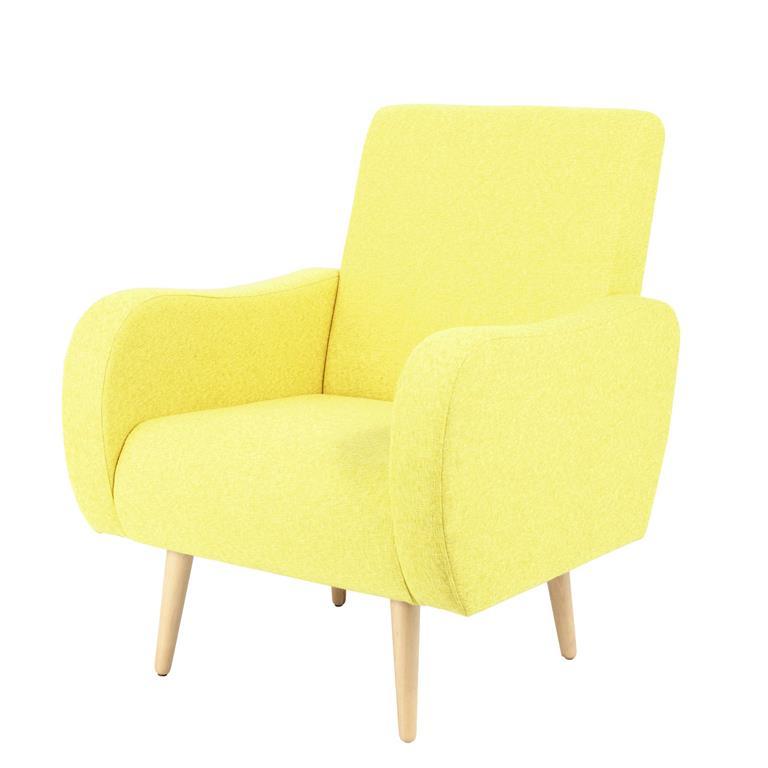 Fauteuil vintage en tissu jaune chiné Waves