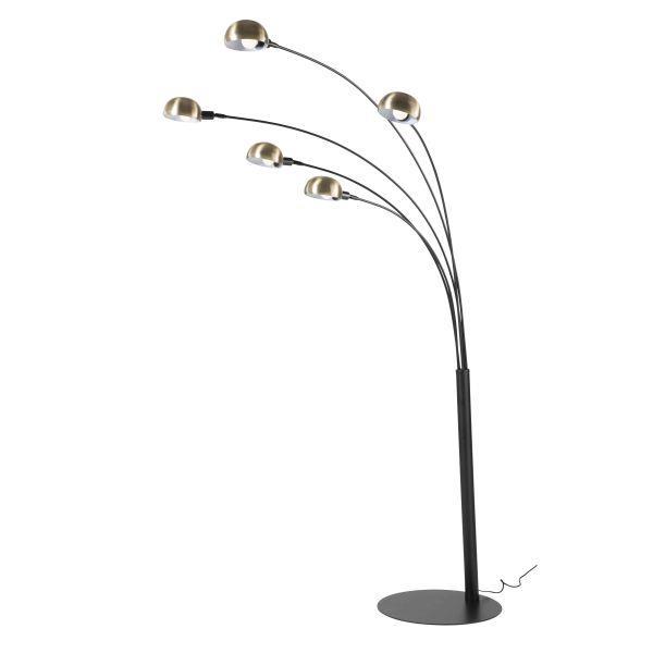 Lampadaire en métal noir et bronze H198