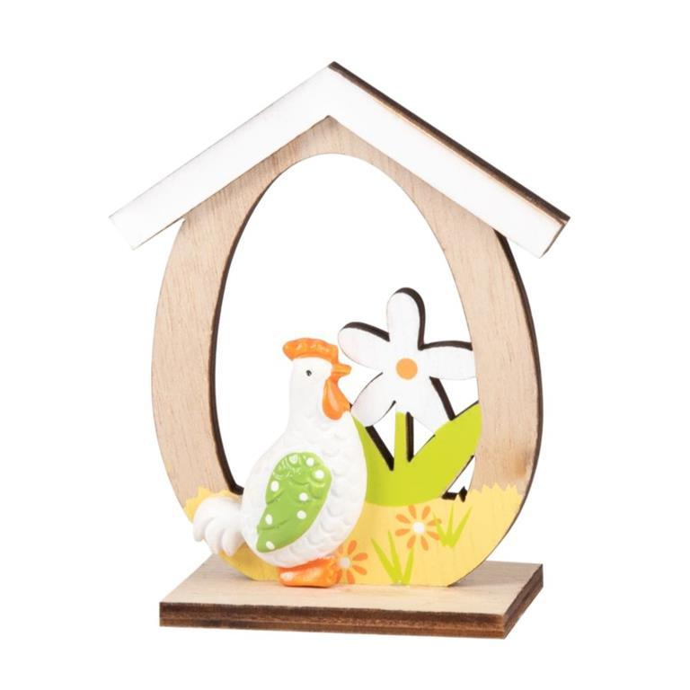 Statuette maison avec poule en peuplier H9