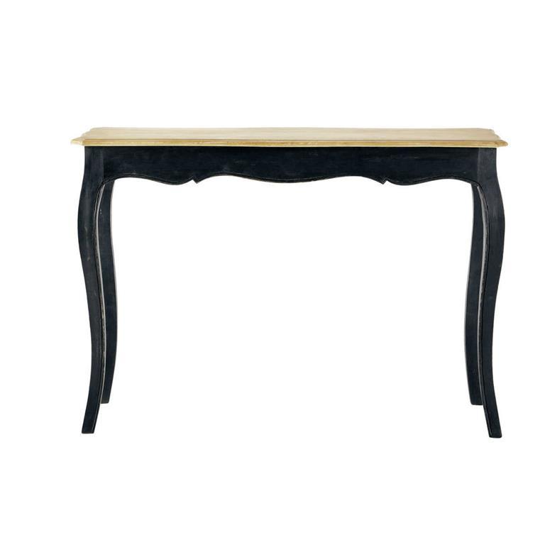 Table console en manguier massif noire Versailles