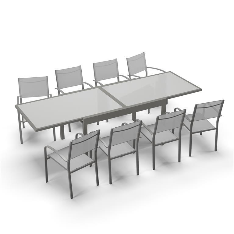 Table de jardin 8 personnes en aluminium gris