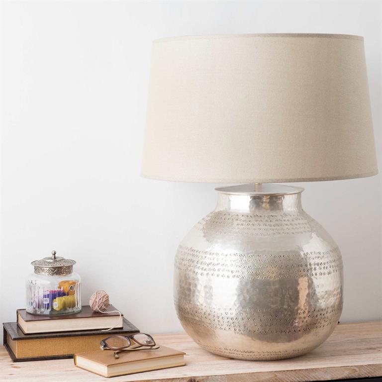 Lampe en métal et abat-jour en tissu H 64 cm WASSILA