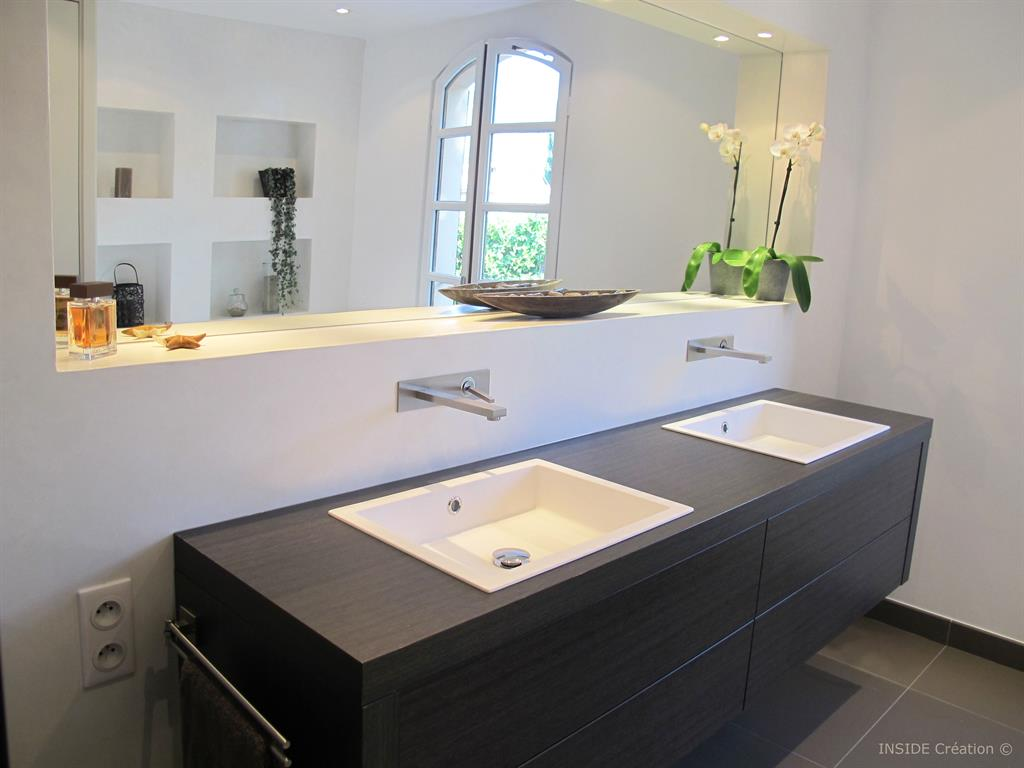 double meuble vasque suspendu inside creation photo n85 With salle de bain design avec meuble lavabo miroir salle de bain