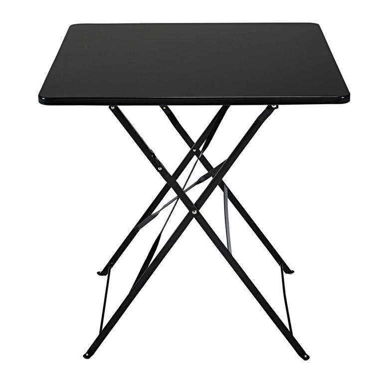 Table de jardin pliante en métal noir 2 personnes L70 Guinguette