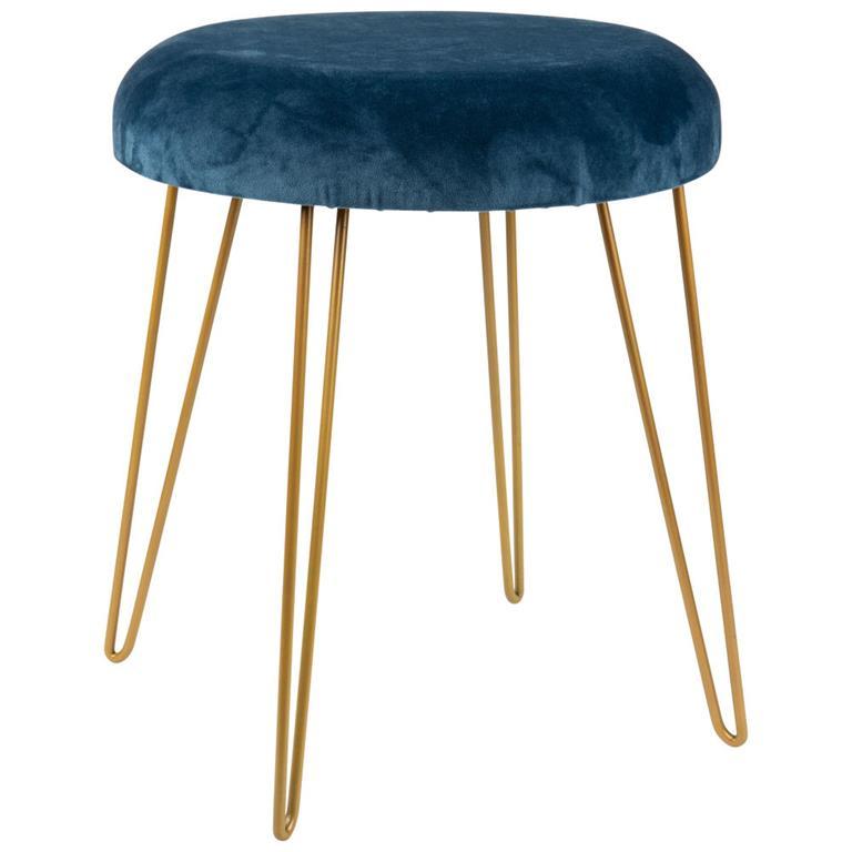 Tabouret bleu marine et pieds en métal doré